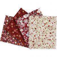 Tissu Patchwork, dim. 45x55 cm, 100 gr, rouge vin, 4 pièce/ 1 Pq.
