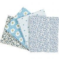 Tissu Patchwork, dim. 45x55 cm, 100 gr, bleu clair, 4 pièce/ 1 Pq.