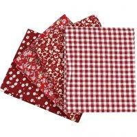 Tissu patchwork, dim. 45x55 cm, 100 gr, rouge, 4 pièce/ 1 boule