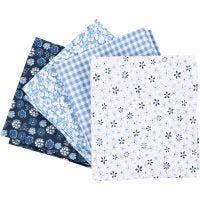 Tissu patchwork, dim. 45x55 cm, 100 gr, bleu, 4 pièce/ 1 boule