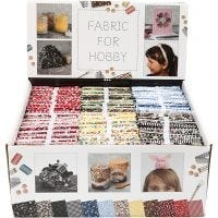 Tissu patchwork, dim. 45x55 cm, 100 gr, couleurs assorties, 48 boule/ 1 Pq.