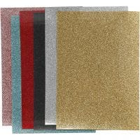 Film à repasser, 148x210 mm, paillettes, couleurs assorties, 6 flles/ 1 Pq.