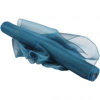 Tissu d'organza, L: 50 cm, brillante, turquoise, 10 m/ 1 rouleau