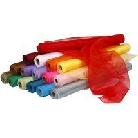 Tissu d'organza, L: 50 cm, couleurs assorties, 16x6 rouleau/ 1 Pq.