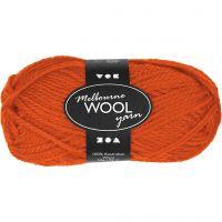 Pelote de laine Melbourne, L: 92 m, orange, 50 gr/ 1 boule
