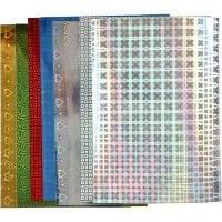 Papier holographique, A4, 210x297 mm, 120 gr, 8 flles ass./ 1 Pq.