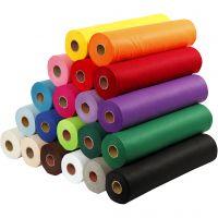 Feutrine synthétique, L: 45 cm, ép. 1,5 mm, 180-200 gr, couleurs assorties, 20x5 m/ 1 Pq.