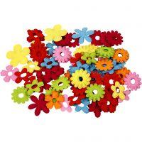 Fleurs en feutre, dim. 35x45 mm, 135 pièce/ 1 Pq.