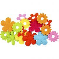 Fleurs en feutre, dim. 35x45 mm, 16 pièce/ 1 Pq.