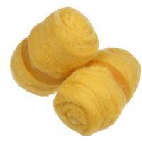 Laine cardée, jaune, 2x100 gr/ 1 boule