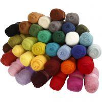 Laine cardée - Assortiment, couleurs assorties, 35x100 gr/ 1 Pq.