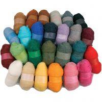 Laine cardée - Assortiment, couleurs assorties, 26x25 gr/ 1 Pq.