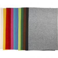 Feutrine synthétique, 42x60 cm, ép. 3 mm, couleurs assorties, 12 flles ass./ 1 Pq.