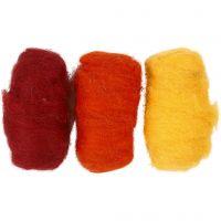 Pelotes de laine cardée, harmonie jaune/terre brulée, 3x10 gr/ 1 Pq.