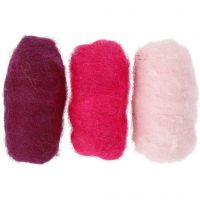 Pelotes de laine cardée, harmonie violet/rose, 3x10 gr/ 1 Pq.