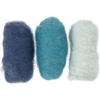 Pelotes de laine cardée, harmonie de bleus, 3x10 gr/ 1 Pq.
