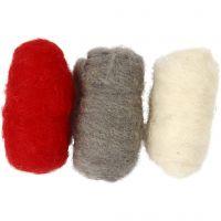 Pelotes de laine cardée, harmonie rouge/blanc, 3x10 gr/ 1 Pq.