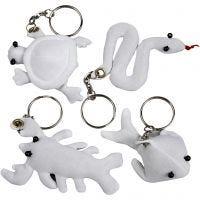 Figurines en tissu avec porte-clés, dim. 4-8 cm, blanc, 4 pièce/ 1 Pq.