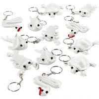 Figurines en tissu avec porte-clés, dim. 4-8 cm, blanc, 4x3 pièce/ 1 Pq.