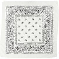 Bandana imprimé, dim. 55x55 cm, blanc, 1 pièce