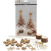 Sapins de Noël en papier imitation cuir, ép. 0,55 mm, 1 set