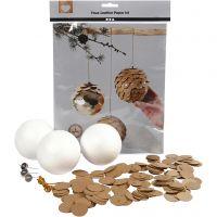 Pommes de pin en papier imitation cuir, d: 8 cm, ép. 0,55 mm, naturel, or, 1 set
