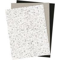 Papier imitation cuir, 21x27,5+21x28,5+21x29,5 cm, ép. 0,55 mm, unicolor,film,imprimé, 3 flles/ 1 Pq.