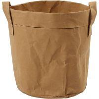 Sac de rangement en papier imitation cuir, H: 20 cm, d: 19,5 cm, 350 gr, brun clair, 1 pièce