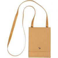 Sac à bandoulière en papier imitation cuir, H: 18 cm, L: 13 cm, 350 gr, brun clair, 1 pièce