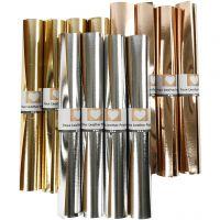 Papier imitation cuir, L: 49 cm, ép. 0,55 mm, unicolor,film, or, rose or, argent, 12x1 m/ 1 Pq.