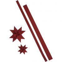 Bandes de papier étoiles, L: 44+78 cm, L: 15+25 mm, 350 gr, rouge, 24 bandes/ 1 Pq.