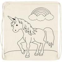 Sac de sport à cordon, licornes, dim. 37x41 cm, 110 gr, naturel clair, 1 pièce