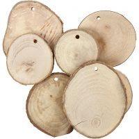 Disque en bois avec trou, d: 40-70 mm, diamètre intérieur 4 mm, ép. 5 mm, 25 pièce/ 1 Pq.