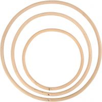 Anneau en bambou, d: 15,3+20,3+25,5 cm, 3 pièce/ 1 set