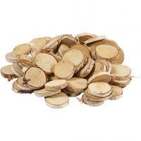 Disque en bois avec trou, d: 35-45 mm, diamètre intérieur 4 mm, ép. 7 mm, 500 gr/ 1 Pq.