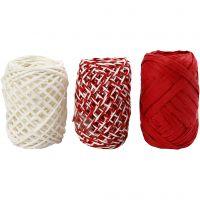 Ficelle de papier, harmonie rouge/blanc, 3x10 m/ 1 Pq.
