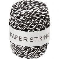 Ficelle de papier, ép. 1 mm, noir/blanc, 50 m/ 1 rouleau