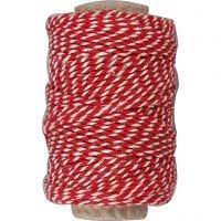Ficelle de coton, ép. 1,1 mm, rouge/blanc, 50 m/ 1 rouleau