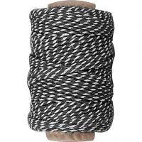 Ficelle de coton, ép. 1,1 mm, noir/blanc, 50 m/ 1 rouleau