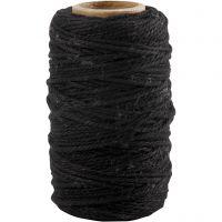 Ficelle de coton, ép. 1,1 mm, noir, 50 m/ 1 rouleau