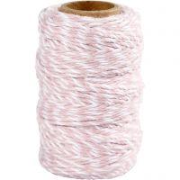 Ficelle de coton, ép. 1,1 mm, blanc/rose clair, 50 m/ 1 rouleau