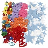 Formes en feutrine, dim. 40-60 mm, Le contenu peut varier , couleurs assorties, 180 pièce/ 1 Pq.