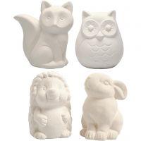 Tirelires en forme d'animaux, hibou, renard, hérisson, lièvre, H: 9-10 cm, blanc, 4 pièce/ 1 boîte