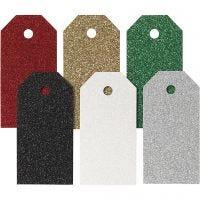 Étiquettes cadeaux, dim. 5x10 cm, 300 gr, couleurs assorties, 6x15 pièce/ 1 Pq.