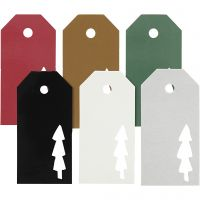 Étiquettes, sapin de Noël, dim. 5x10 cm, Le contenu peut varier , 300 gr, 6x15 pièce/ 1 Pq.