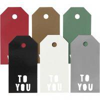 Étiquettes, TO YOU, dim. 5x10 cm, 300 gr, 6x15 pièce/ 1 Pq.