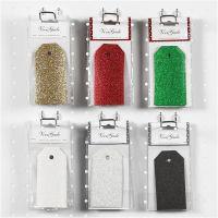 Étiquettes cadeaux, dim. 5x10 cm, paillettes, 300 gr, 6x10 Pq./ 1 Pq.