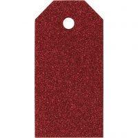 Étiquettes cadeaux, dim. 5x10 cm, 300 gr, rouge, 15 pièce/ 1 Pq.