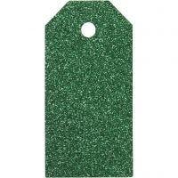 Étiquettes cadeaux, dim. 5x10 cm, paillettes, 300 gr, vert, 15 pièce/ 1 Pq.