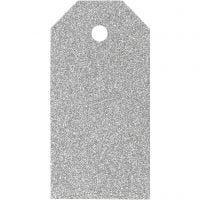 Étiquettes cadeaux, dim. 5x10 cm, paillettes, 300 gr, argent, 15 pièce/ 1 Pq.
